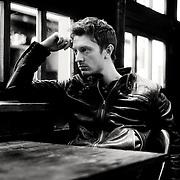 Atmospheric black & white portrait of actor, Daniel Campbell.