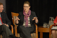 Jeni Britton Bauer, President of Jeni's Splendid Ice Creams at the 'Conversation on the Economy,' a forum held at Pfahl Hall in the Fisher College of Business at Ohio State on Nov. 30, 2010..