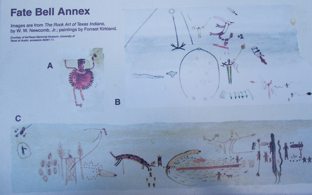 Fate Bell Annex<br /> Images from &quot;The Rock Art of Texas Indians&quot;<br /> by W.W. Newcomb, Jr.; paintings by Forrest Kirkland.<br /> Courtesy of the Texas Memorial Musuem, University of Texas at Austin, accession #2262-11