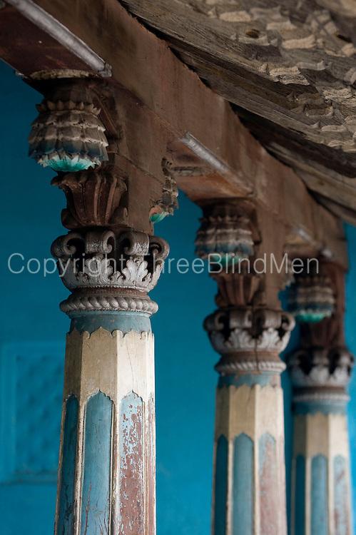 Fine old pillars of Mr. K. Sethumadhavan home in Subramanium Baradiya Street, Karaikal.<br /> Puducherry. South India.