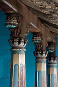 Fine old pillars of Mr. K. Sethumadhavan home in Subramanium Baradiya Street, Karaikal.<br /> Puducherry. South India.