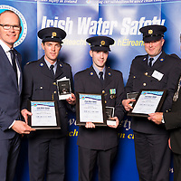 Dublin - Ireland, Tuesday 8th November 2016:<br /> Simon Coveney TD, Minister for Housing, Planning &amp; Local Government with 'Seiko Just In Time Award' recipients Gardai Kevin Williamson, Michael Murphy, John O&rsquo;Sullivan and Martin O'Sullivan, Chairman of Irish Water Safety at the annual Irish Water Safety Awards held at Dublin Castle.  Photograph: David Branigan/Oceansport