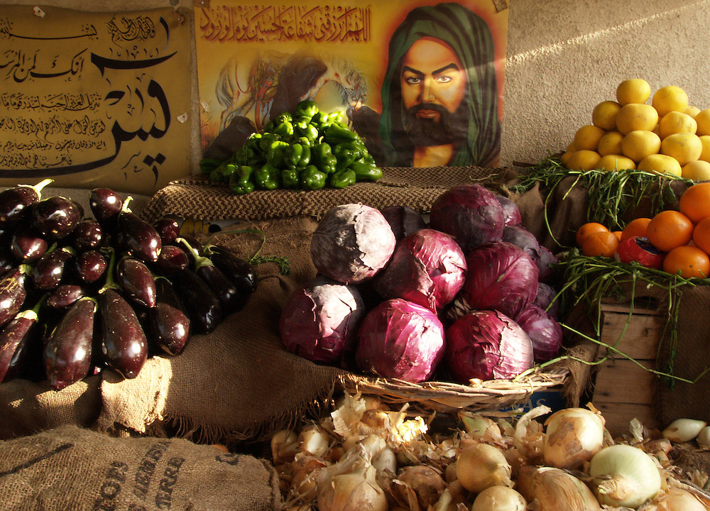Baghdad, Iraq...Fruit and vegetable stalls are to be found on the streets throughout Baghdad, the quaility of the produce is high and they are a colourfull addtion to the drab, rundown city.