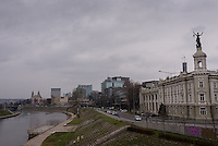Crossing the Neris River into the Snipiskes neighborhood of Vilnius, Lithuania