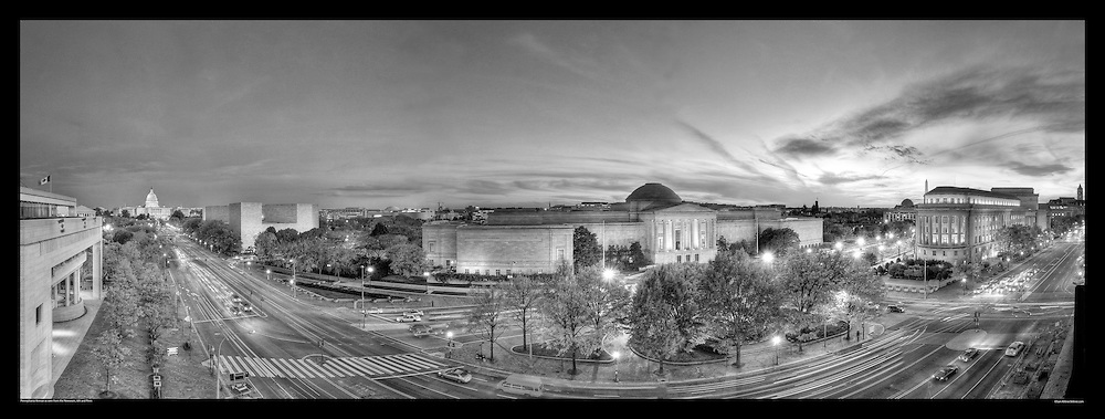 Panoramic photograph of Pennsylvania Avenue, Washington, DC as seen from the Newseum.  Includes The US Capitol, National Gallery of Art, Federal Trade Commission, and The Washington Monument. Print Size (in inches): 15x6; 24x9; 36x14; 48x18; 60x23; 72x27.5