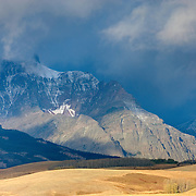 Morning light on the Montana plains and the Rocky Mountain Front Ranges of Glacier National Park USA