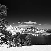 Wizard Island Discovery Point Overlook - Crater Lake - Black & White