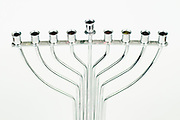 Silver Hannukah Menorah on white background