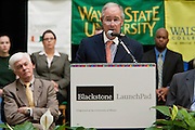 Stephen A. Schwarzman, Chairman and CEO of The Blackstone Group, speaks at the Undergraduate Library at Wayne State University in Detroit, MI, Friday, April 30, 2010. ..The Blackstone Charitable Foundation in collaboration with the New Economy Initiative for Southeast Michigan announced that Wayne State University, Walsh College, and the University of Miami have been selected as partners for The Blackstone Charitable Foundation's grant to help expand The Launch Pad program to two Michigan partners – Walsh College and Wayne State University. (Jeffrey Sauger)