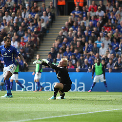 Leicester City's Goalkeeper Kasper Schmeichel sees the ball go past him for a Manchester United goalduring the Barclays Premiership match between Leicester City FC and Manchester United FC, at the King Power Stadium, Leicester, 21st September 2014 © Phil Duncan | SportPix.org.uk