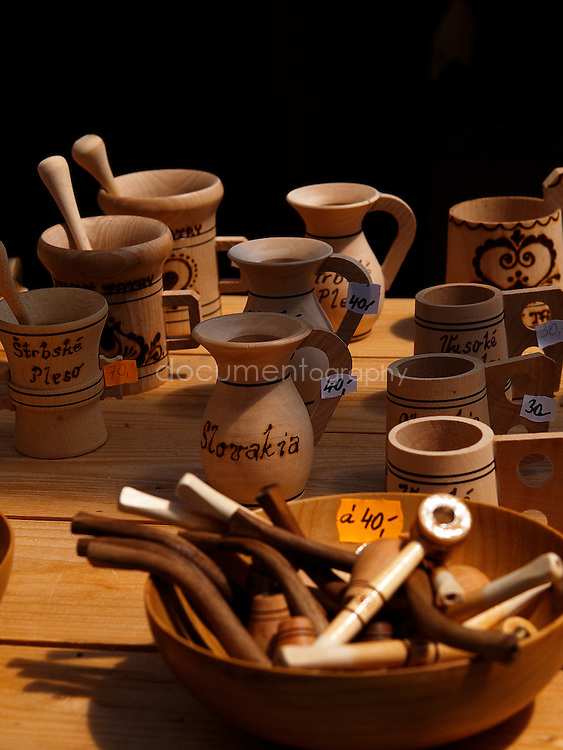 Handicrafts for sale at Strbske pleso alpine lake Tatra mountains, Slovakia.