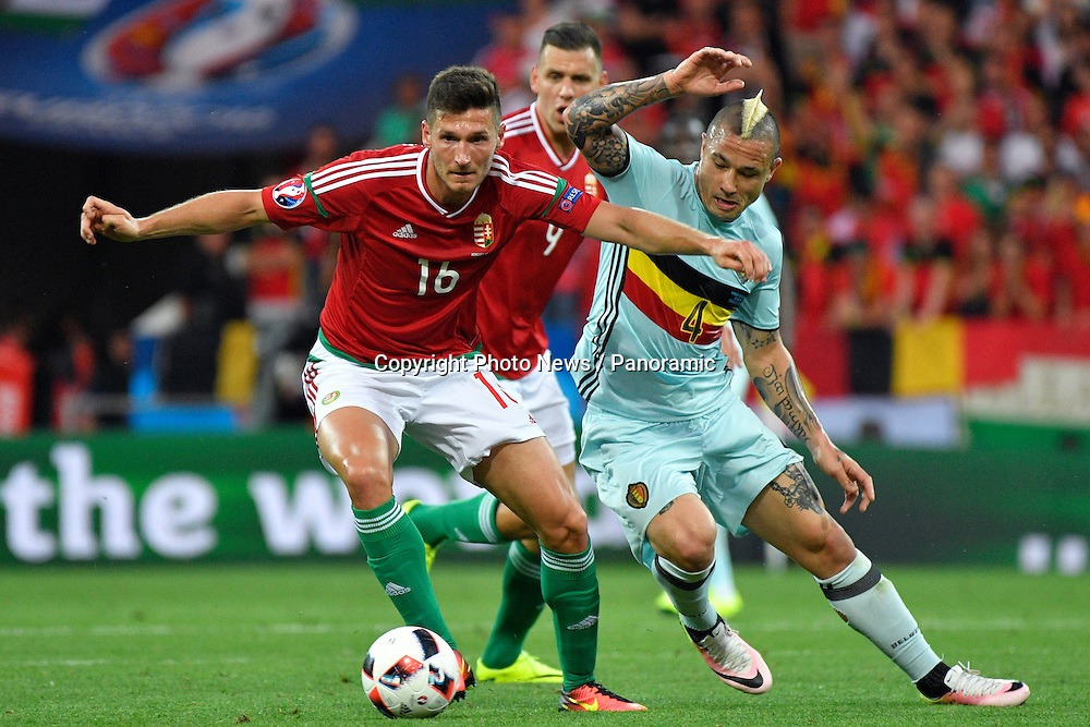 TOULOUSE, FRANCE - JUNE 26 :  Radja Nainggolan midfielder of Belgium battles for the ball with Adam Pinter defender of Hungary