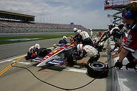 Danica Patrick pits at the Kansas Speedway, Kansas Indy 300, July 3, 2005