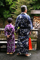 """Onsen Yukatas - Yukata is a Japanese summer robe. People wearing yukata are a common sight at fireworks displays, bon odori festivals and often worn after bathing at traditional Japanese inns. Though their use is not limited to after bath wear, yukata literally means """"bath clothes""""."""