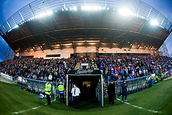 The main stand at half time during the Falkirk v Rangers in the Ramsdens Cup.