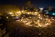 A view of Tahrir Square at night on February 10, 2011. Inspired by the revolution in Tunisia and tired of high levels of corruption, police violence and unemployment, Egyptians took over Tahrir Square in downtown Cairo to call for greater freedoms and the removal of President Hosni Mubarak. On February 11, 2011 in one of the most dramatic moments of the Arab Spring, Tahrir erupted in celebration with the news that the 30-year rule of Mubarak had come to an end. © Lindsay Mackenzie  / Falcon Photo Agency
