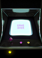 Video Arcade Game Screen with Game Over on it.