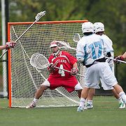 05/18/2011- Medford/Somerville, Mass. - Cortland State goaltender Scott Tota can't get to a shot from Tufts attack Ryan Molloy (17, A11) in the Jumbos 10-9 win over Cortland State in the NCAA Tournament Quarterfinals at Bello Field on May 18, 2011. (Kelvin Ma/Tufts University)