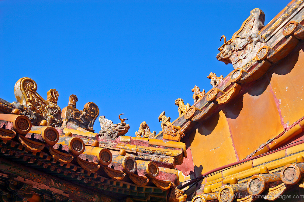 Asia, China, Beijing. Ornate rooftop at the Forbidden Palace.