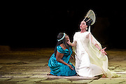 22.02.2012. London, UK. A brand new production of Giuseppe Verdi's awe-inspiring masterpiece, Aida, directed by Stephen Medcalf. The drama unfolds in the very heart of the Royal Albert Hall, drawing the audience in from all sides. With a combined cast of over 120 soloists, chorus, actors and dancers, and with Aida played by Indra Thomas and Radames by Marc Heller. Picture shows Indra Thomas as Aida and Tiziana Carraro as Amneris. Photo credit : Tony Nandi
