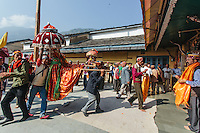 Deities taking blessings from Lord Raghunath at his temple in Kullu, Himachal Pradesh, India. Kullu Dussehra is the Dussehra festival observed in the month of October in Himachal Pradesh state in northern India. It is celebrated in the Dhalpur maidan in the Kullu valley. Dussehra at Kullu commences on the tenth day of the rising moon, i.e. on 'Vijay Dashmi' day itself and continues for seven days. Its history dates back to the 17th century when local King Jagat Singh installed an idol of Raghunath on his throne as a mark of penance. After this, god Raghunath was declared as the ruling deity of the Valley.