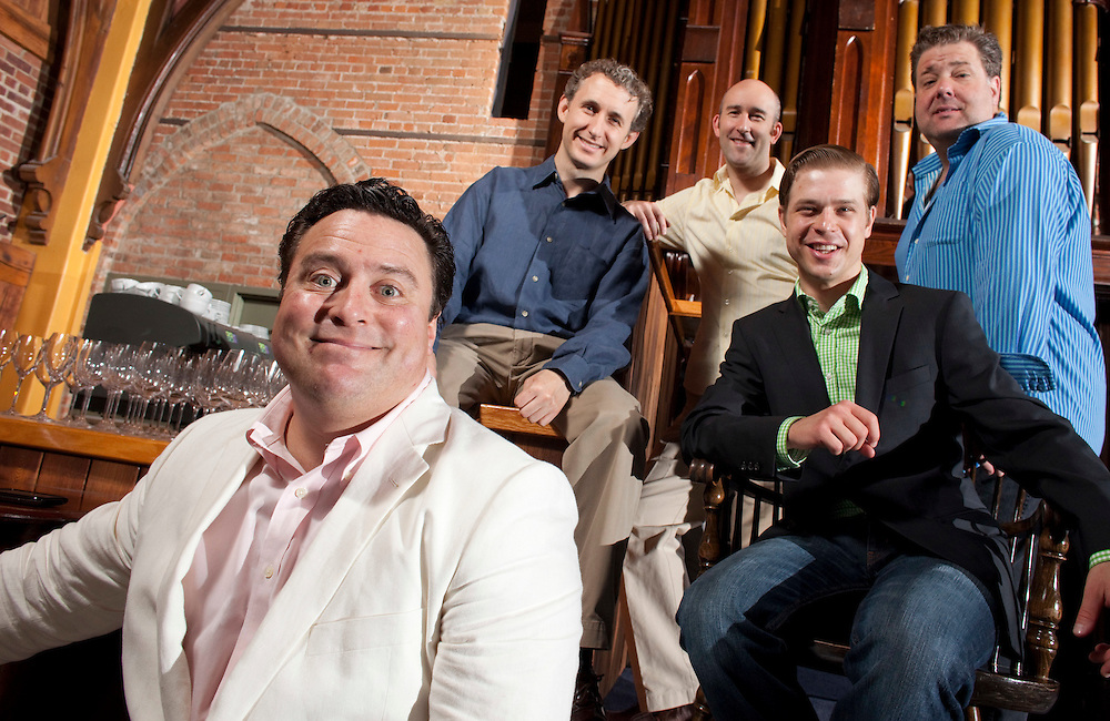 Stratford, Ontario ---10-07-14--- From left, Sean Cullen, Michael Therriault, Jonathan Monro, Kyle Golemba and Bruce Dow will perform in the Stratford Summer Music Cabaret Series at The Church Restaurant in Stratford, Ontario this summer.<br /> GEOFF ROBINS Toronto Star