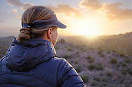 A woman pauses to admire the sunset view in the Sonoran Desert near Organ Pipe Cactus National Monument, Arizona.
