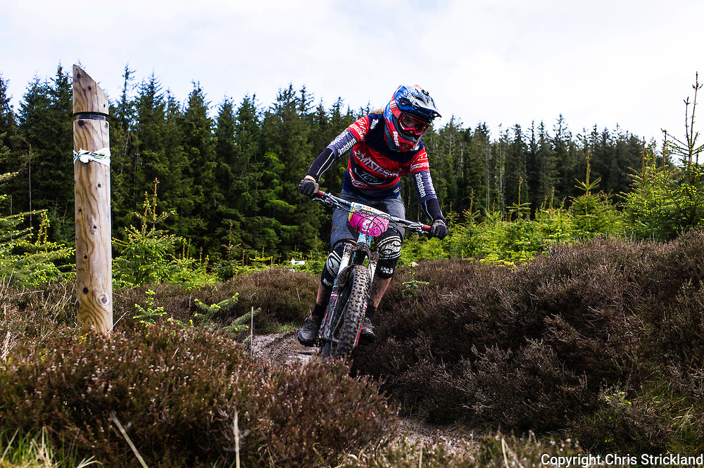 Glentress, Peebles, Scotland, UK. 31st May 2015. Anita Gehrig in action on Stage 8 of The Enduro World Series Round 3 taking place on the iconic 7Stanes trails during Tweedlove Festival. Mountain bikers come up against eight stages across two days, with an intense 2,695 metres of climbing over 93km. As well as the physicality of the liaisons, the stages themselves are technical, catching many off guard.