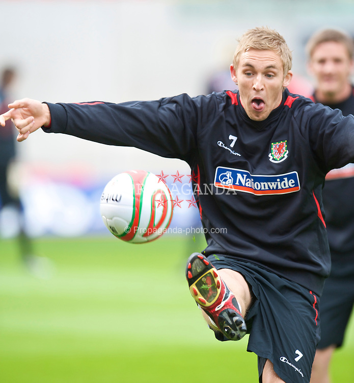 LLANELLI, WALES - Wednesday, May 27, 2009: Wales' Jack Collison training at Parc Y Scarlets ahead of the International friendly match against Estonia. (Pic by David Rawcliffe/Propaganda)