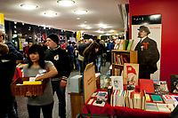 08 JAN 2011, BERLIN/GERMANY:<br /> Verkauf von Buechern und Devotionalien, 16. Internationale Rosa-Luxenburg-Konferenz, Urania Haus<br /> IMAGE: 20110108-01-002<br /> KEYWORDS: Kommunismus