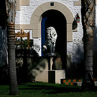 St. Petersburg, Fla. -- Apr. 22, 2007  -- A statue of a lion stands guard at an entrance to a home in the Old Historic Northeast neighborhood in St. Petersburg, Fla., on Sunday, April 22, 2007.  Created in 1911, the waterfront neighborhood features mostly single-family houses in a vast array of architecture styles, and is the second largest neighborhood behind Key West on the National Register of Historic Places.