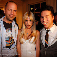 """Claude Morais, Tinsley Mortimer and Brian Wolk, attend the opening of """"Lady"""" by Douglas Friedman at the Ruffian Gallery on April 23, 2009 in New York City."""