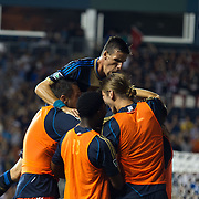 Philadelphia Union players celebrate after Forward CONOR CASEY (6) scores in 75th minute in a MLS regular season match against D.C. United Saturday. August. 10, 2013 at PPL Park in Chester PA.