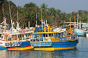 Negombo. Boats berthed at the lagoon mooring on a Sunday.