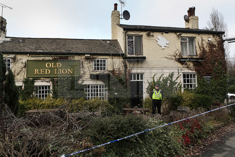 © Licensed to London News Pictures. 13/02/2017. Leeds, UK. Police have cordoned off the Old Red Lion pub in the Seacroft area of Leeds where a man is reported to have died. The cause of the man's death is as yet unknown. He was found with serious injuries at 11am this morning. Photo credit : Ian Hinchliffe/LNP