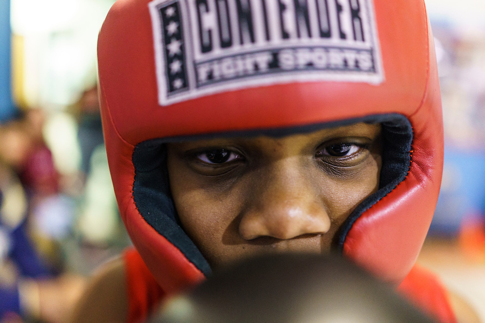 Baltimore, Maryland - January 26, 2017: Boxer Nieem &quot;The Brutal Machine&quot; Somerville, 10, trains at the Upton Boxing Club in West Baltimore Thursday January 26, 2017.<br /> <br /> Upton Boxing Club is where Coach Calvin Ford, the inspiration for character Dennis &quot;Cutty&quot; Wise from &quot;The Wire,&quot; coaches. It's also the gym where Gervonta Davis, the current IBF junior lightweight champion, trains. Davis is undefeated (17-0) with 16 KOs. He also coaches dozens of amateurs and a few other professionals.<br /> <br /> CREDIT: Matt Roth for The New York Times<br /> Assignment ID: 30201545A