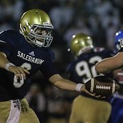 Salesianum quarter back Garrett Cannon (6) hands off the ball in the second quarter Friday, Oct. 09, 2015 at Bernard Stadium in Wilmington, DE.