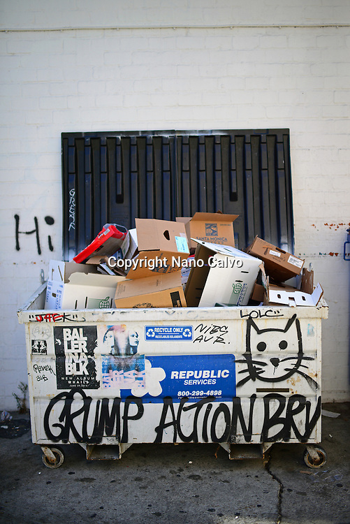 Graffitis on trash container, Los Angeles.