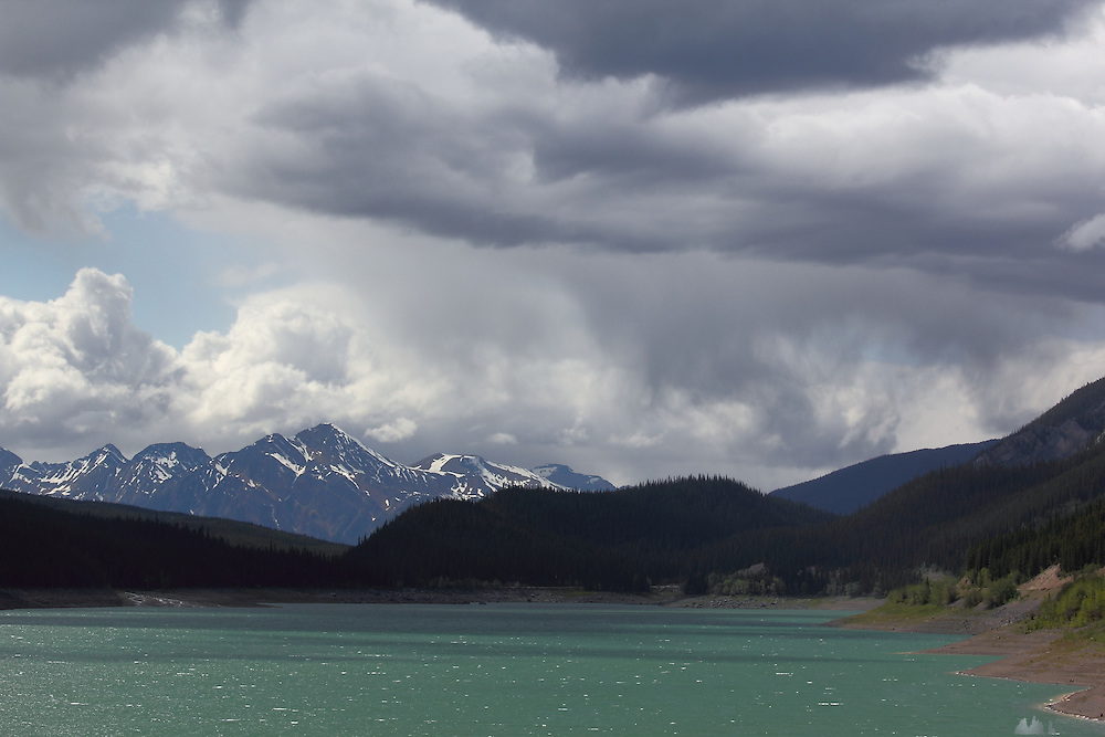 Views driving along Medicine Lake, near Jasper, Alberta, Canadian Rockies
