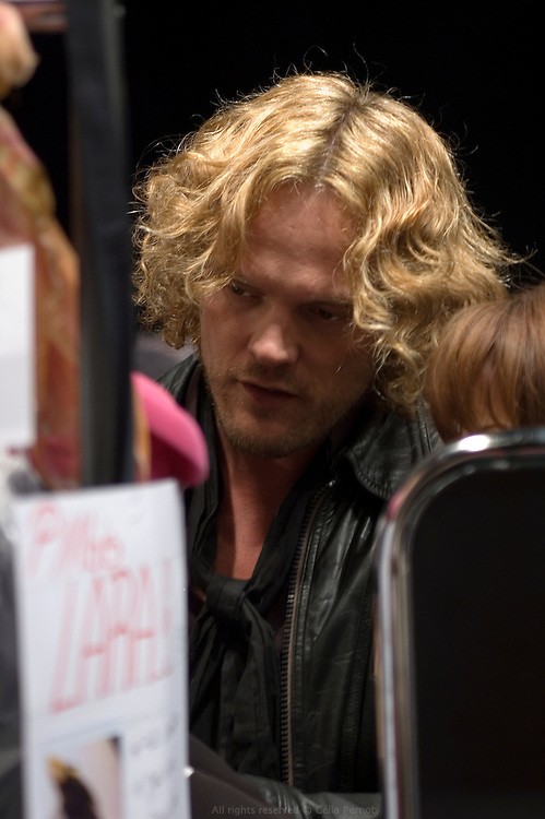 Peter Dundas, Ungaro's designer, backstage before the fashion show