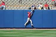 Alabama's Jeremiah Tullidge (40) catches a ball hit by Ole Miss' Matt Tracy (29) at Oxford-University Stadium in Oxford, Miss. on Sunday, March 20, 2011. Alabama won 6-4. Ole Miss falls to 15-6.