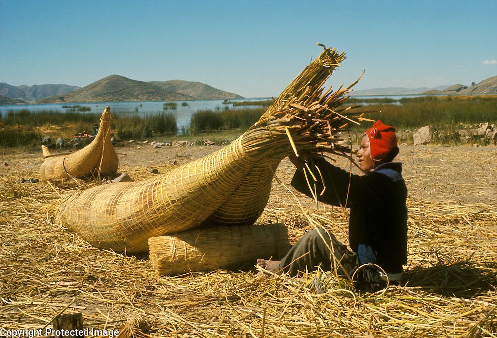 Aymara Indian fisherman making reed raft called  balsa de totora, on Suriqui Island, Lake Titicaca, Bolivia