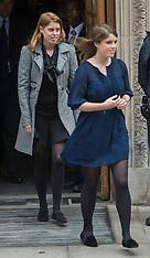 JUNE 14 2013 Princess Eugenie and Princess Beatrice leaving after visiting HRH The Duke of Edinburgh