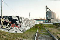 Mural on the Arkansas River levee along the railroad tracks in downtown Helena, Arkansas.