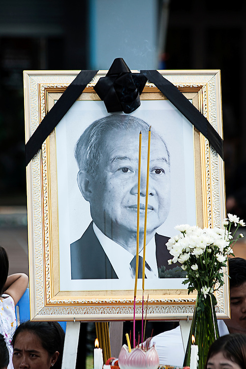 Portrait of King Norodom Sihanouk at his funeral parade in the Cambodian capital Phnom Penh following his death in exile at the age of 89 years. Grieving Cambodians wore white shirts with black ribbons, and flags flew at half-mast after the news of his death.