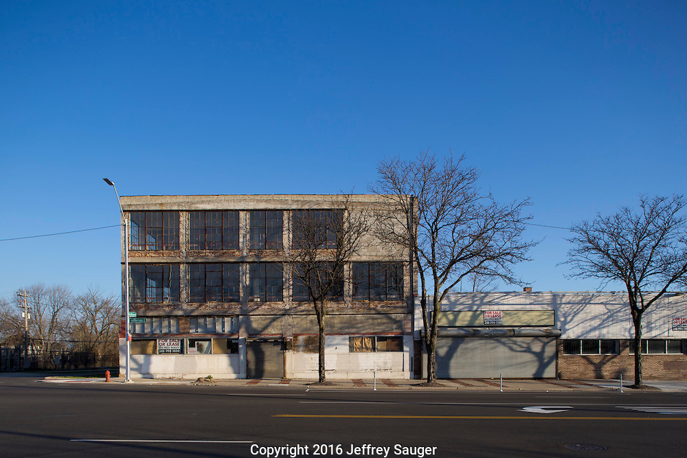 Peter Platte Motor Sales building on Jefferson Avenue in the Jefferson-Chalmers Historic Business District in Detroit, Michigan, Wednesday, April 20, 2016. Designed by architects James S. Rogers, Harrie W. Bonnah and Walter C. Chaffee, it was built in 1919. <br /> <br /> On September 7, 2016, The National Trust for Historic Preservation gave the Jefferson-Chalmers neighborhood in Detroit&rsquo;s lower east side the distinction of a National Treasure. This is the first in the state of Michigan and the first project under the National Trust&rsquo;s ReUrbanism initiative. (Photo by Jeffrey Sauger )