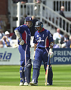 .13/07/2002.Sport - Cricket -NatWest Series Final- Lords.England vs India.Marcus Trescothick left  and Nasser Hussian mid wicket conference..