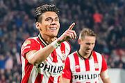 EINDHOVEN - PSV - SC Genemuiden , Voetbal , KNVB Beker , Seizoen 2015/2016 , Philips stadion , 25-10-2015 , PSV speler Hector Moreno (l) viert zijn doelpunt voor de 5-0 uit een corner met op de achtergrond PSV speler Luuk de Jong (r)