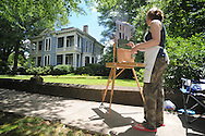 Laura Cavett was among students in an Ole Miss paint class painting pictures of the houses on North Lamar on Tuesday, May 18, 2010.