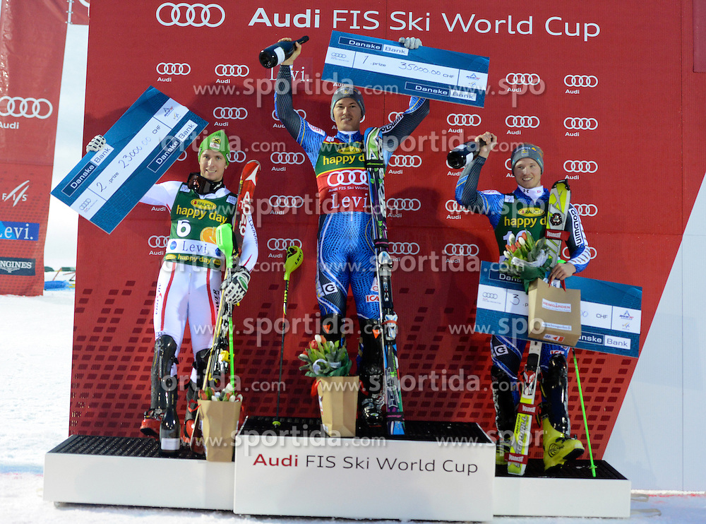 11.11.2012, Levi Black, Levi, FIN, FIS Ski Alpin Weltcup, Slalom, Herren, Podium, im Bild v.l.n.r. Marcel Hirscher (AUT, Platz 2), Andre Myhrer (SWE, Platz 1), Jens Byggmark (SWE, Platz 3) // f.l.t.r. 2nd place Marcel Hirscher of Austria, 1st place Andre Myhrer of Sweden and 3th place Jens Byggmark of Sweden celebrtates on podium after mens Slalom of FIS ski alpine world cup at Levi Black course in Levi, Finland on 2012/11/11. EXPA Pictures © 2012, PhotoCredit: EXPA/ sportbild.se/ Nisse Schmidt..***** A11ENTION - OUT OF SWE *****